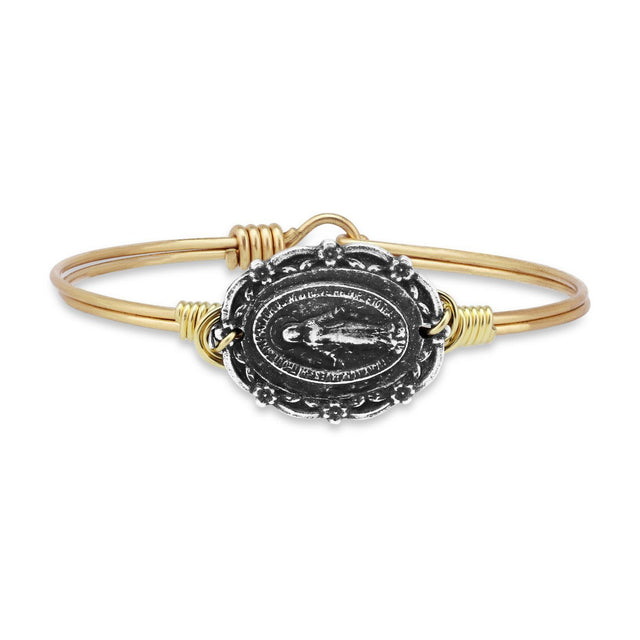 Mother Mary Bangle Bracelet-Bangle Bracelet-Regular-finish:Brass Tone-Luca + Danni