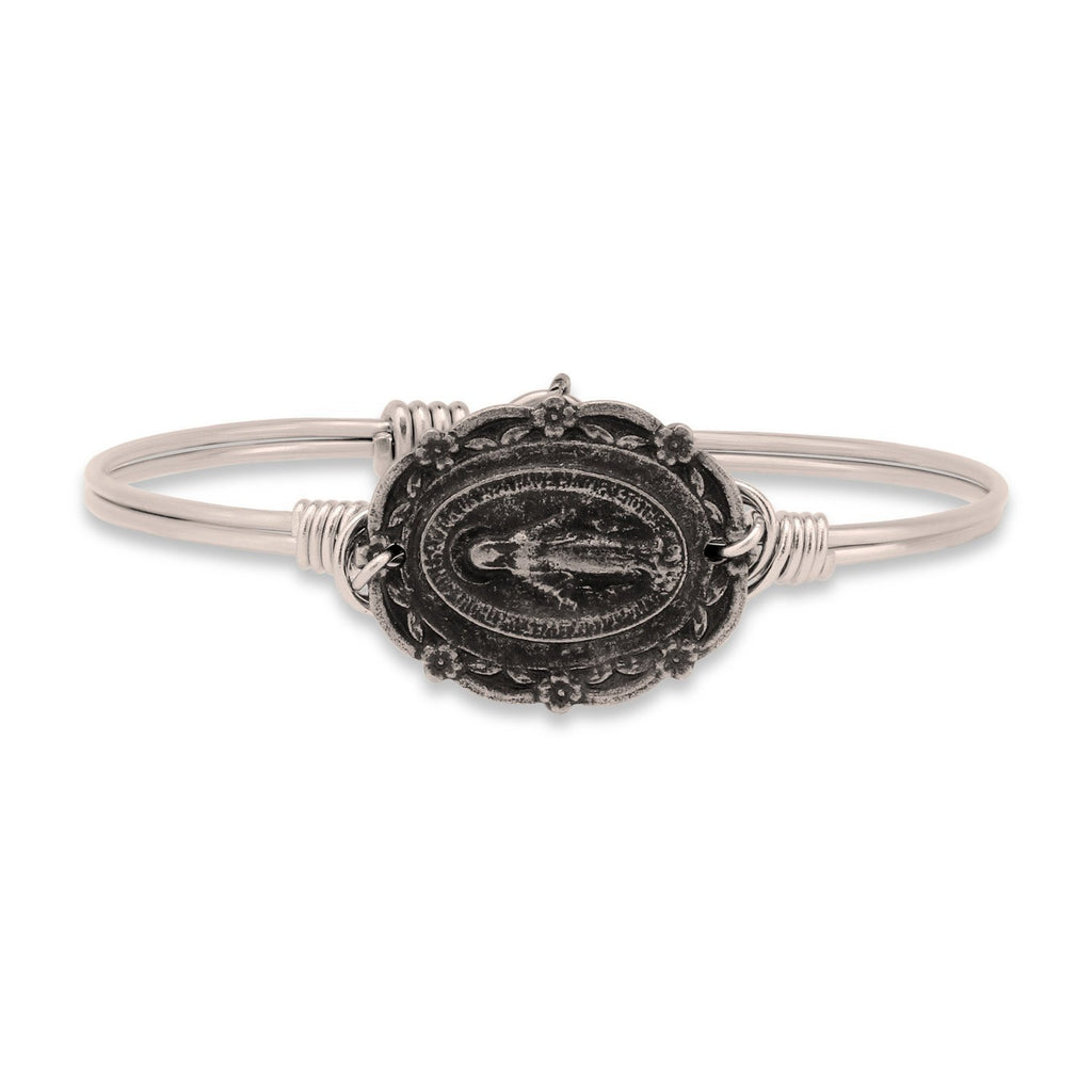 Mother Mary Bangle Bracelet-Bangle Bracelet-Regular-finish:Silver Tone-Luca + Danni