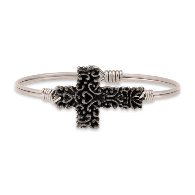 Ornate Cross Bangle Bracelet-Bangle Bracelet-Regular-finish:Silver Tone-Luca + Danni