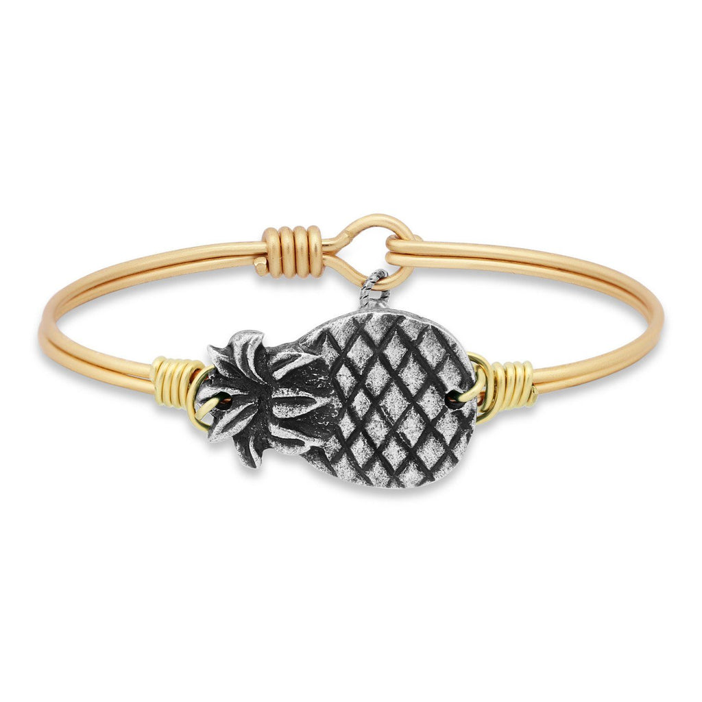 Pineapple Bangle Bracelet choose finish:Brass Tone