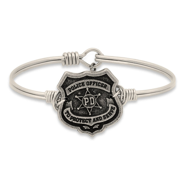 Police Bangle Bracelet-Bangle Bracelet-Regular-finish:Silver Tone-Luca + Danni