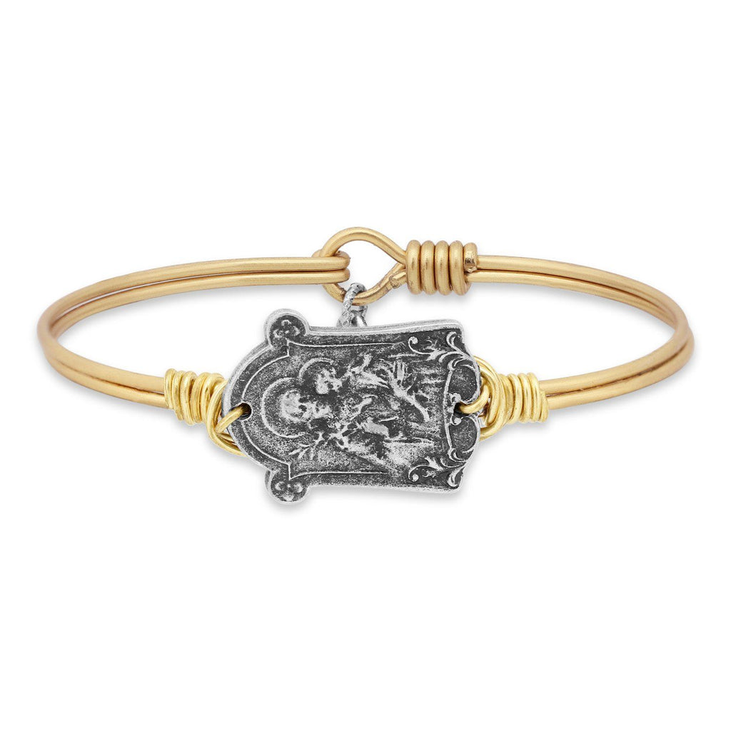 Saint Joseph Bangle Bracelet-Bangle Bracelet-Regular-finish:Brass Tone-Luca + Danni