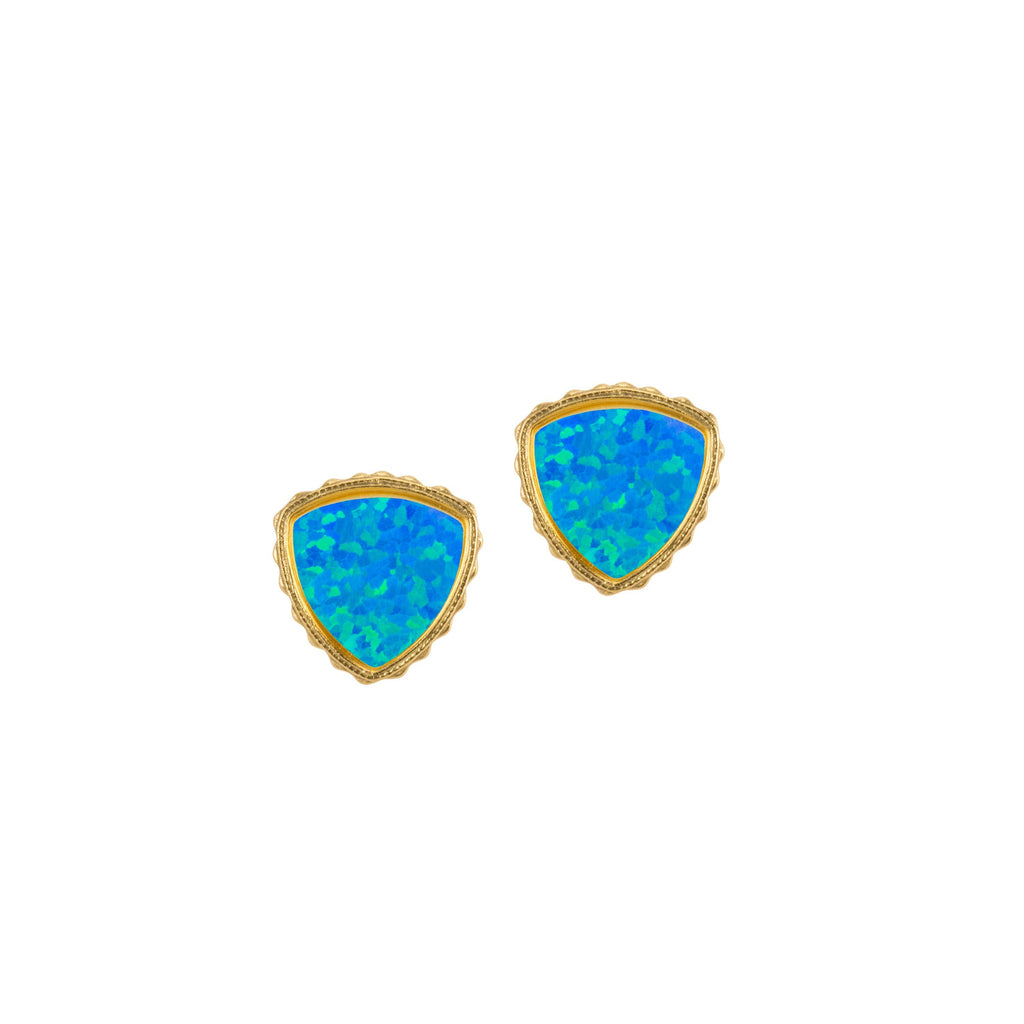 Sterling Silver Trillion Earrings In Pacific Opal-Precious Metals Earrings-finish:18kt Gold Plated-Luca + Danni