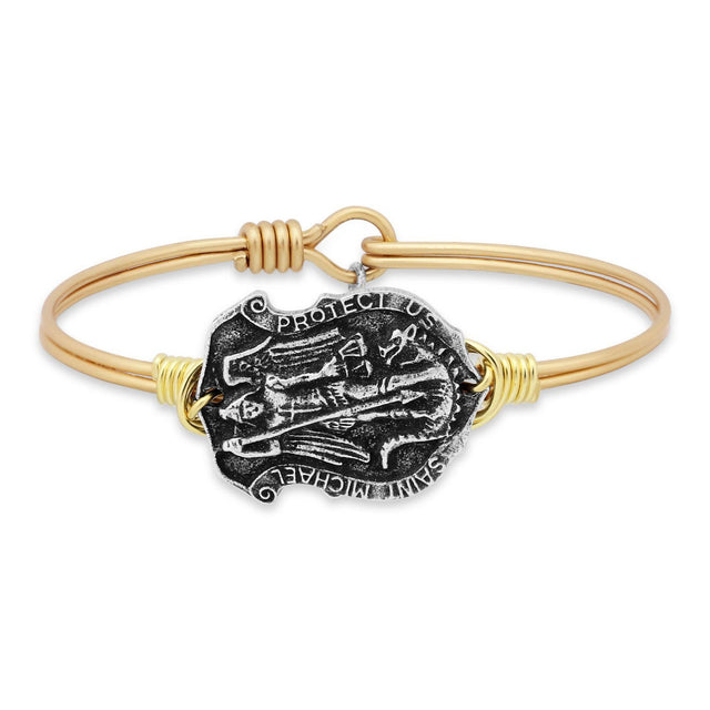 Saint Michael Bangle Bracelet-Bangle Bracelet-Regular-finish:Brass Tone-Luca + Danni
