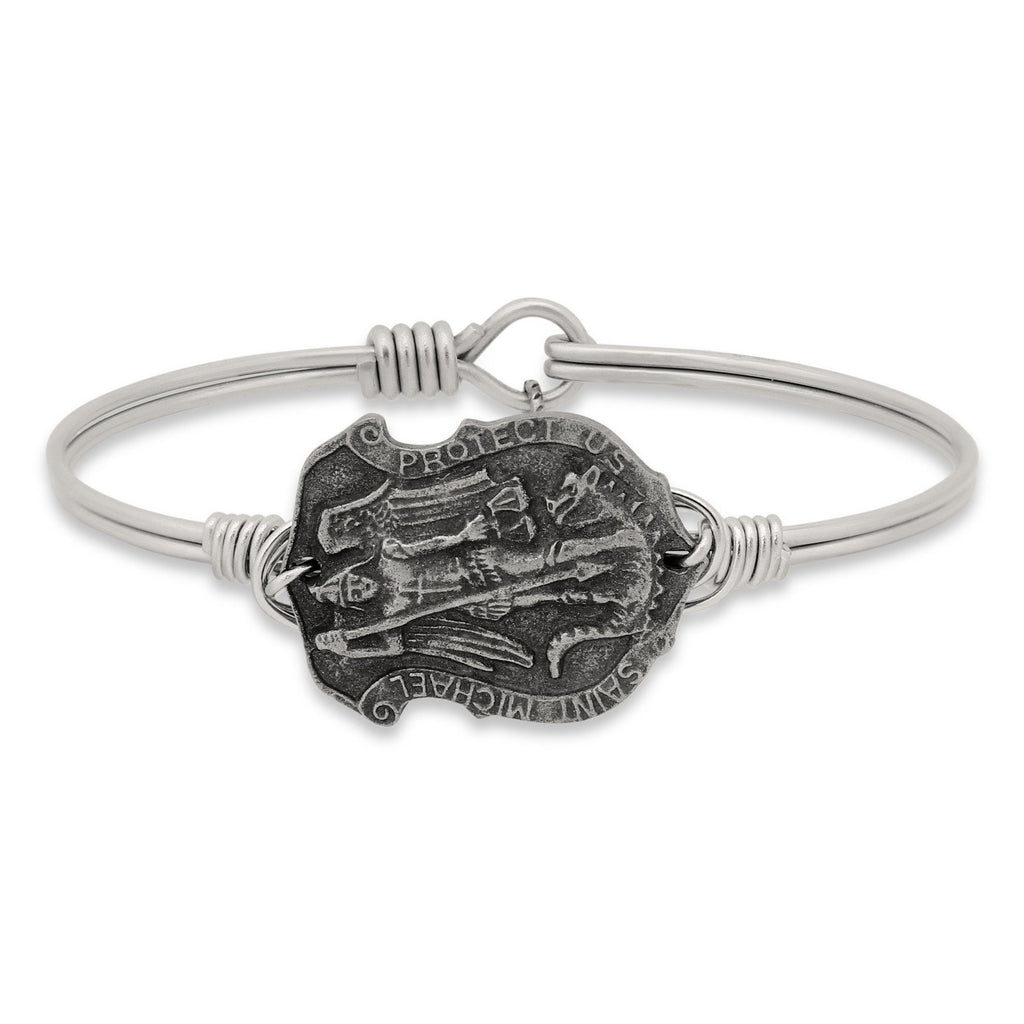Saint Michael Bangle Bracelet-Bangle Bracelet-Regular-finish:Silver Tone-Luca + Danni