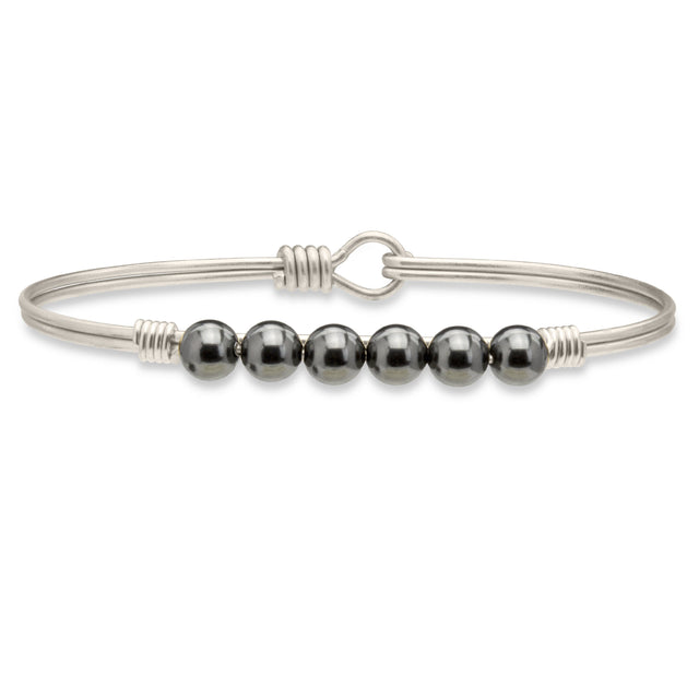 Crystal Pearl Bangle Bracelet In Black-Bangle Bracelet-Regular-finish:Silver Tone-Luca + Danni