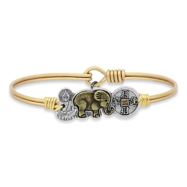 Trilogy Bangle Bracelet | Buddha • Elephant • Coin-Bangle Bracelet-Regular-finish:Brass Tone-Luca + Danni
