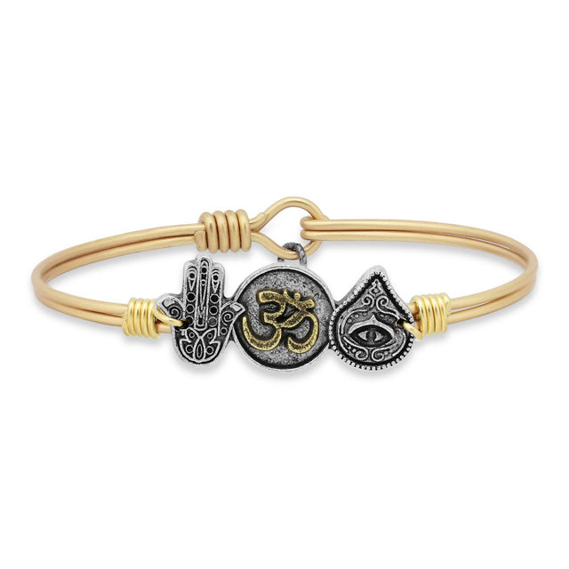 Trilogy Bangle Bracelet | Hamsa • Ohm • Evil Eye-Bangle Bracelet-Regular-finish:Brass Tone-Luca + Danni