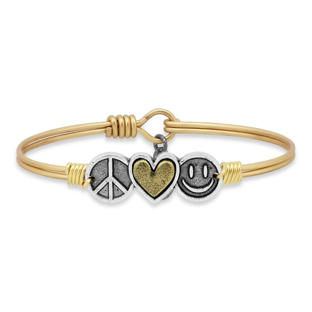 Trilogy Bangle Bracelet | Peace • Love • Happiness-Bangle Bracelet-Regular-finish:Brass Tone-Luca + Danni