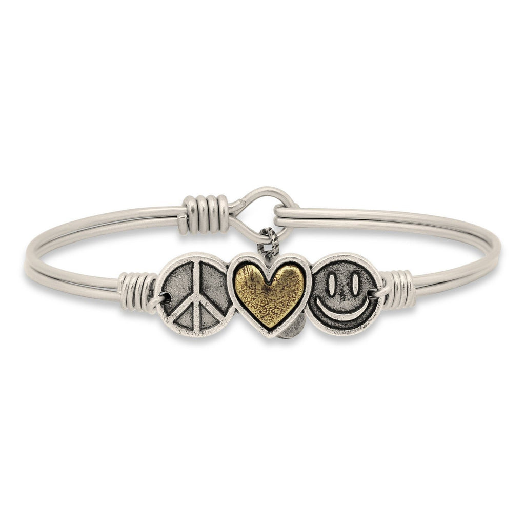 Trilogy Bangle Bracelet | Peace • Love • Happiness-Bangle Bracelet-Regular-finish:Silver Tone-Luca + Danni