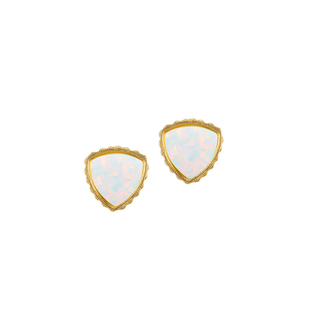 Sterling Silver Trillion Earrings In White Opal-Precious Metals Earrings-finish:18kt Gold Plated-Luca + Danni