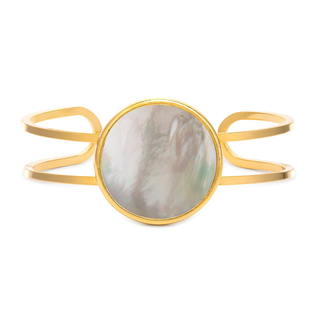 Kelsey Cuff in Mother of Pearl-Cuff Bracelet-finish:18kt Gold Plated-Luca + Danni