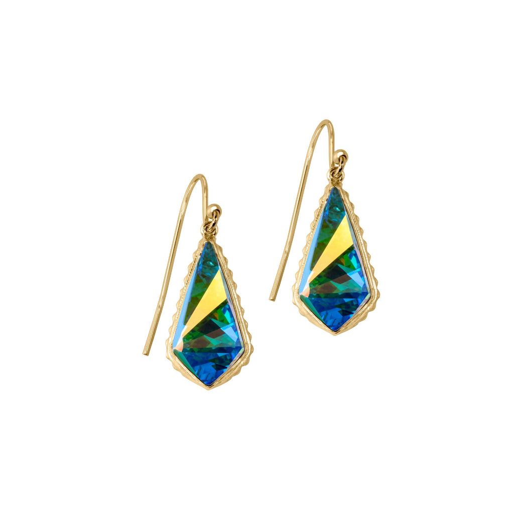 Sterling Silver Sloane Earrings In Crystal AB-Precious Metals Earrings-finish:18kt Gold Plated-Luca + Danni