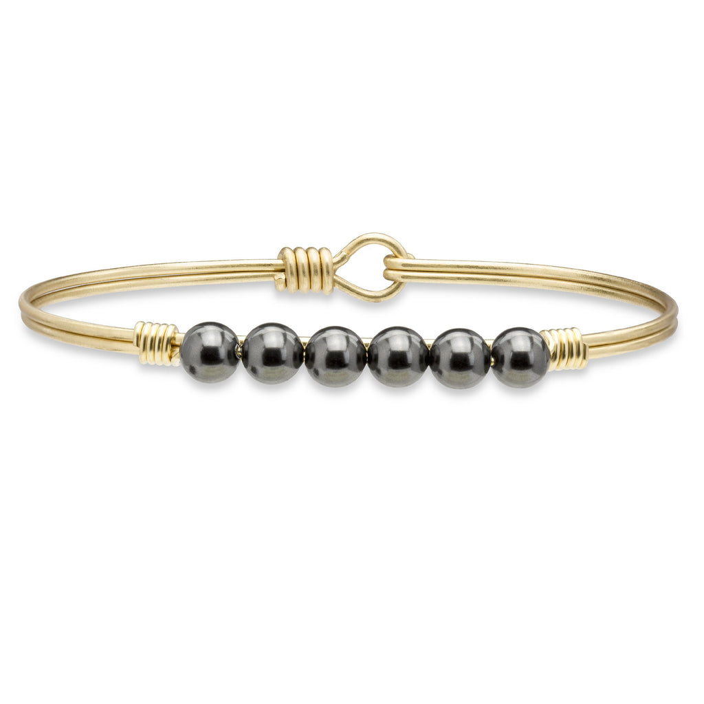 Crystal Pearl Bangle Bracelet In Black-Bangle Bracelet-Regular-finish:Brass Tone-Luca + Danni