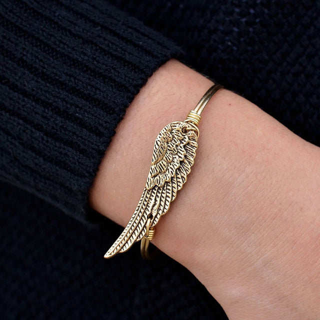 Angel Wing Bangle Bracelet in Rustic Gold