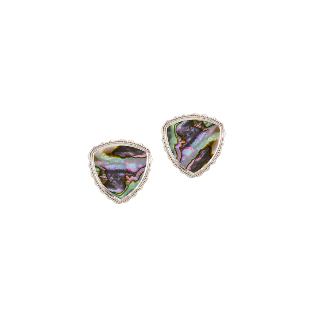 Sterling Silver Trillion Earrings In Abalone Shell-Precious Metals Earrings-finish:Sterling Silver-Luca + Danni