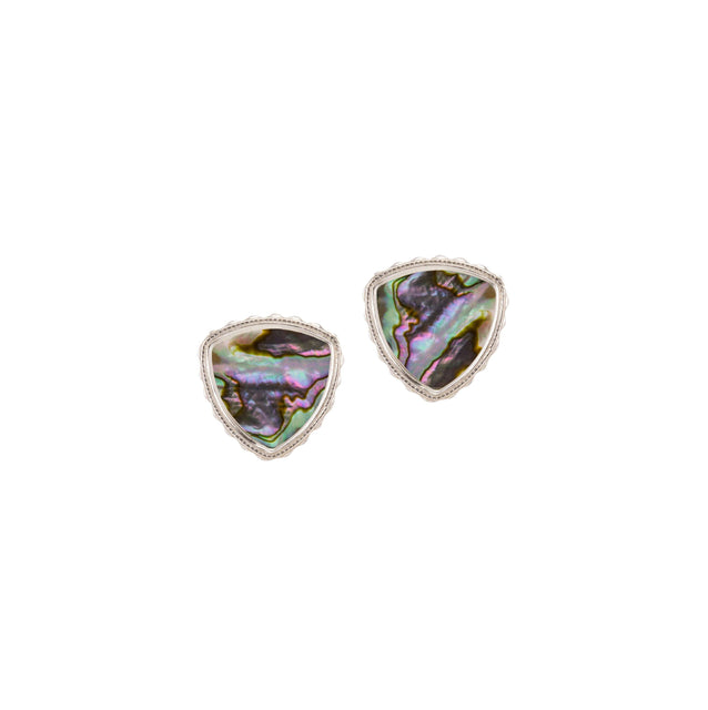 Sterling Silver Trillion Earrings In Abalone Shell