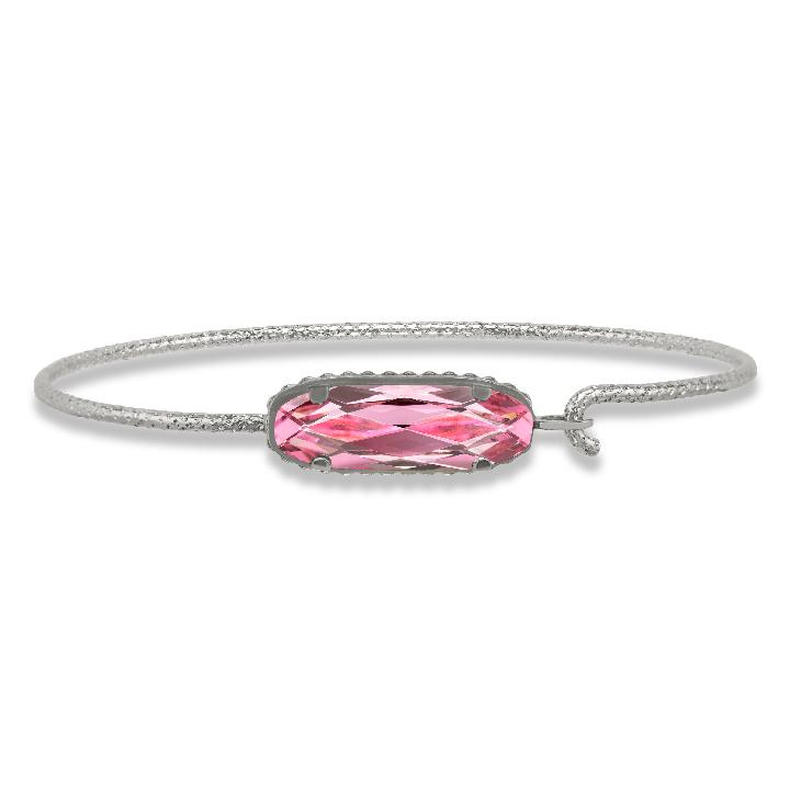 Sterling Silver Willow Bangle Bracelet In Light Rose-Precious Metals Bracelet-Regular-finish:Sterling Silver-Luca + Danni