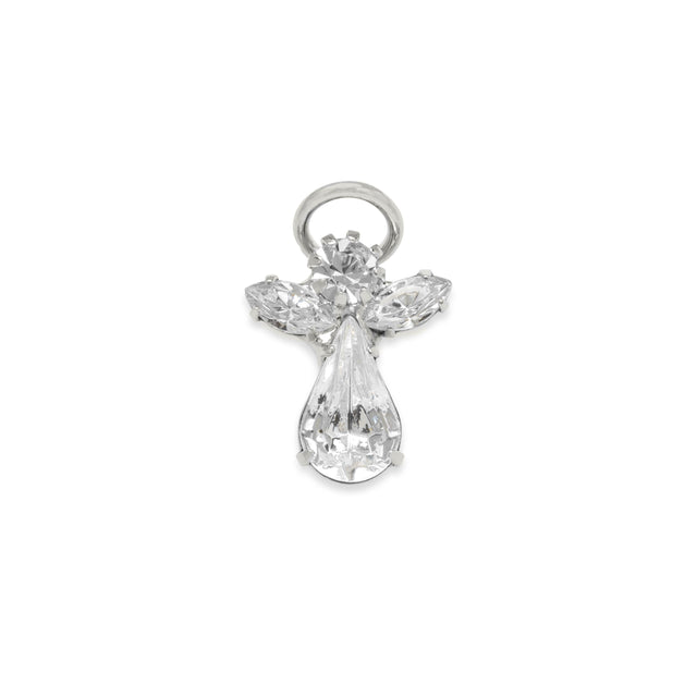 The Original Crystal Angel Pin finish:Silver Plated