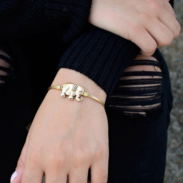 Elephant Bangle Bracelet in Rustic Gold