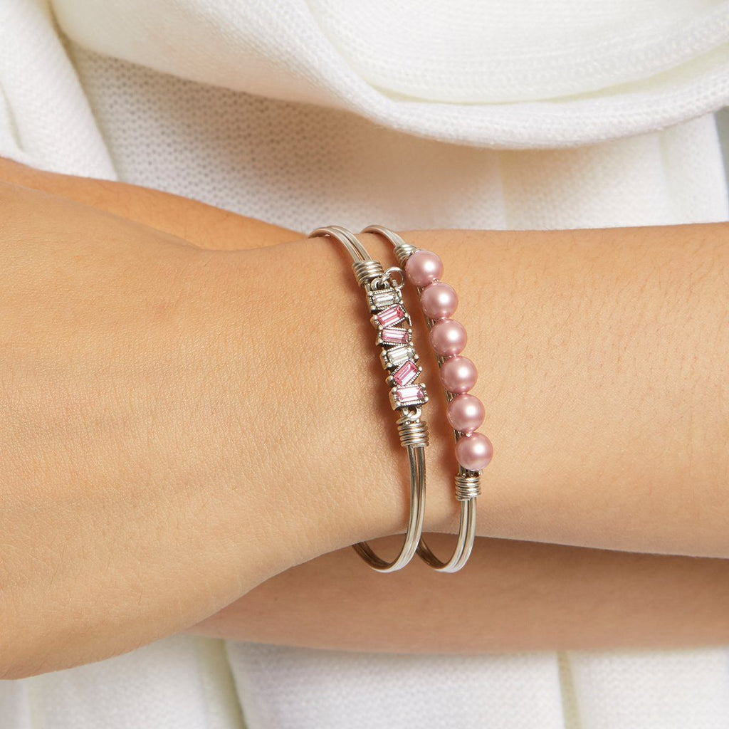 Breast Cancer Crystal Pearl Bangle Bracelet choose finish: