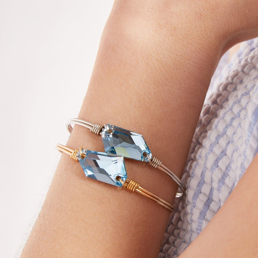 Brooklyn Bangle Bracelet in Clear Blue Sea