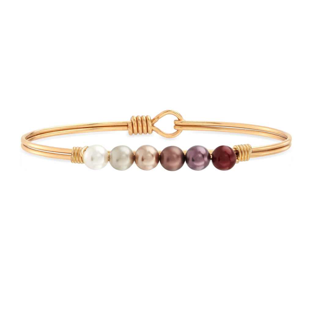 Crystal Pearl Bangle Bracelet in Fall Ombre choose finish:Brass Tone