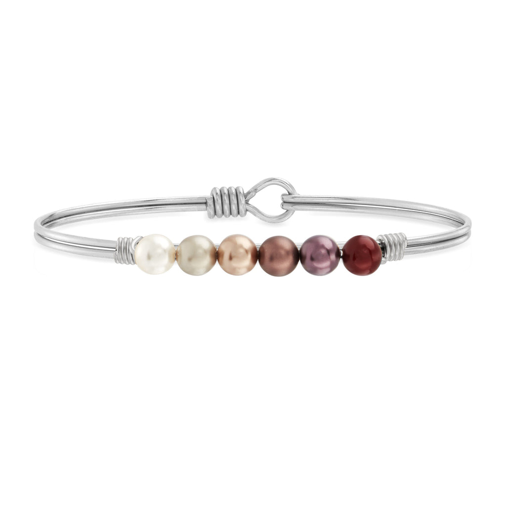 Crystal Pearl Bangle Bracelet in Fall Ombre choose finish:Silver Tone