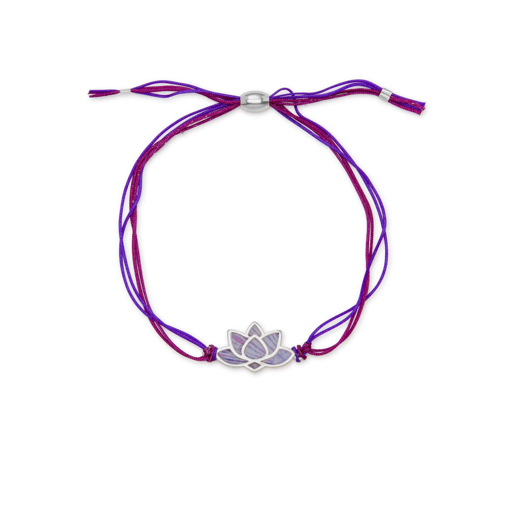 Lotus Adjustable Cord Bracelet finish:Silver Plated