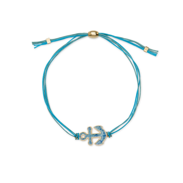 Anchor Adjustable Cord Bracelet finish:18k Gold Plated