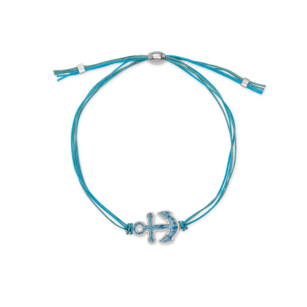 Anchor Adjustable Cord Bracelet finish:Silver Plated