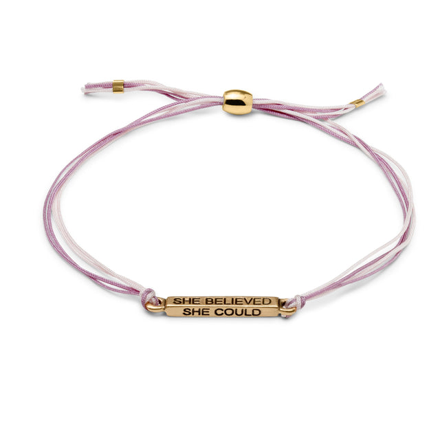 She Believed Cord Bracelet finish:18k Gold Plated