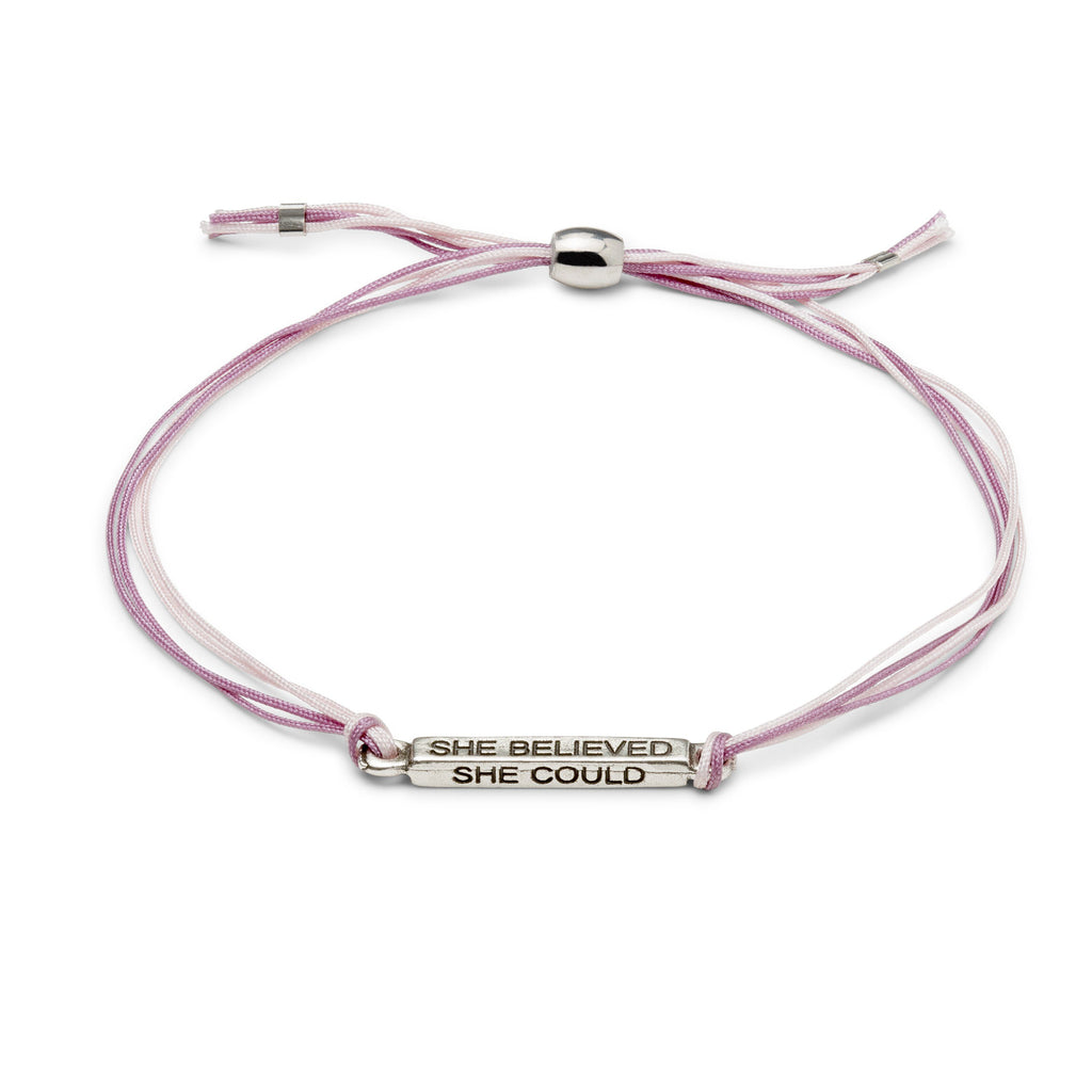 She Believed Cord Bracelet finish:Silver Plated