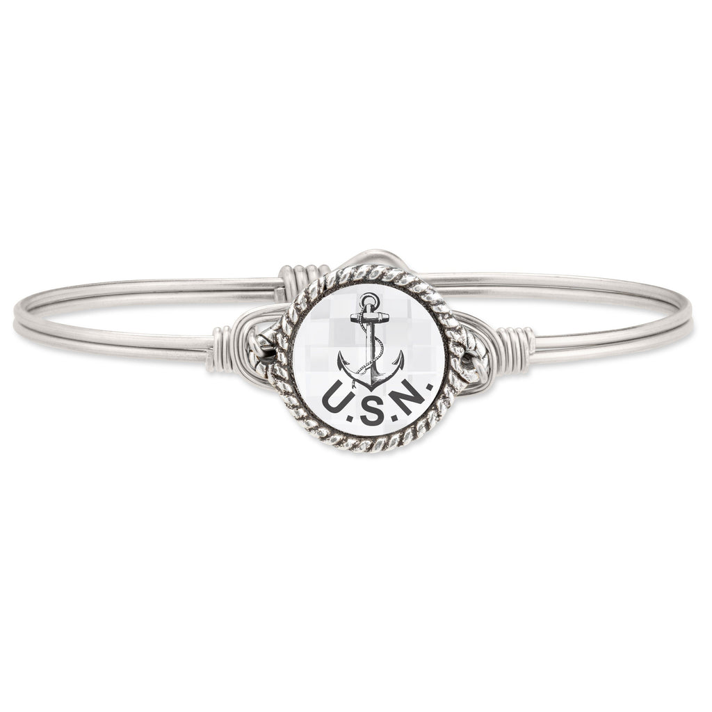 Navy Bangle Bracelet choose finish:Silver Tone