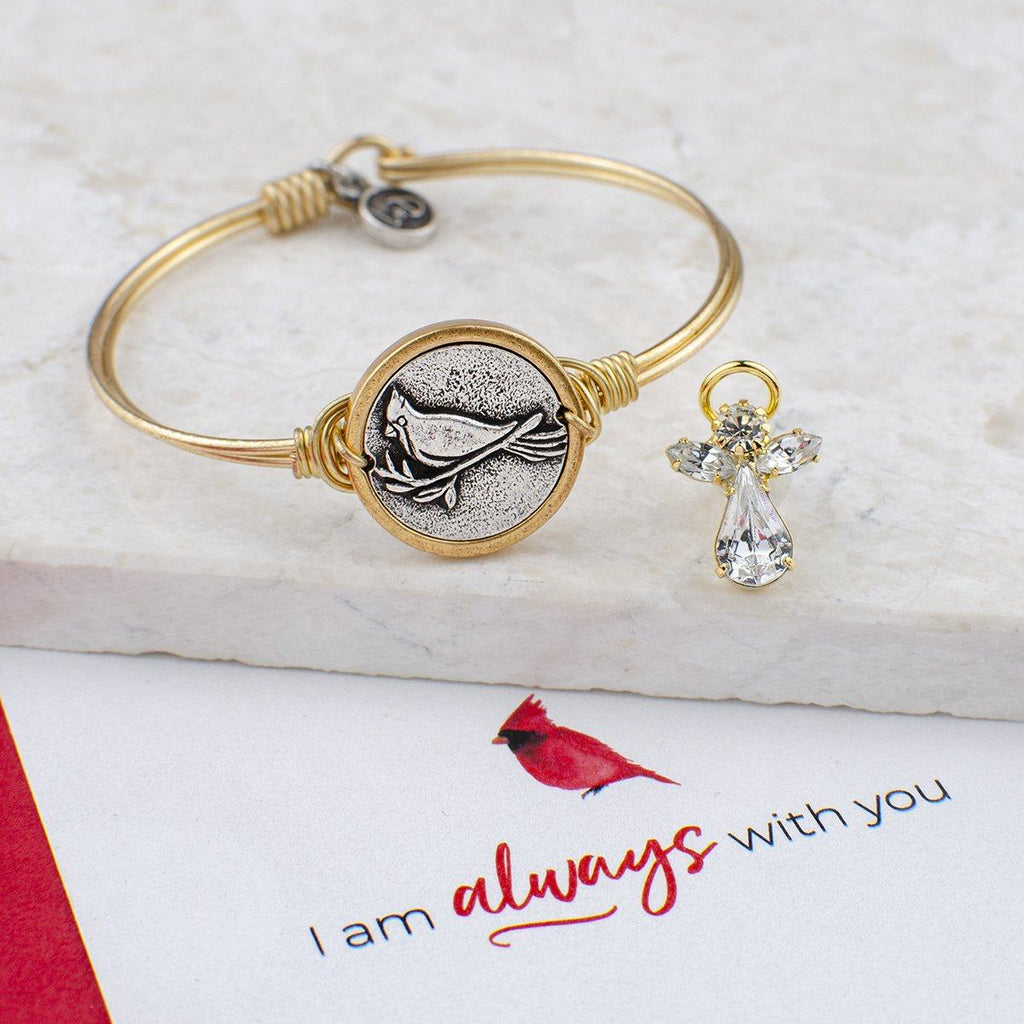 Cardinal Bangle + Crystal Angel Pin Set