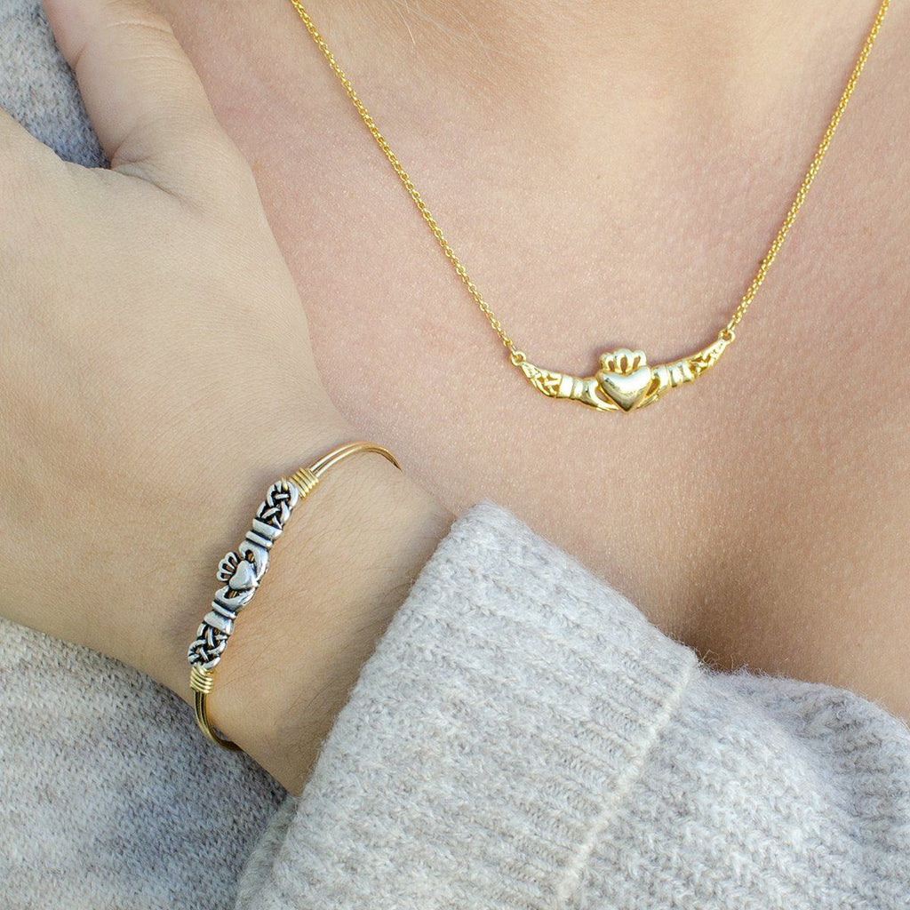 Claddagh Bangle + Necklace Set