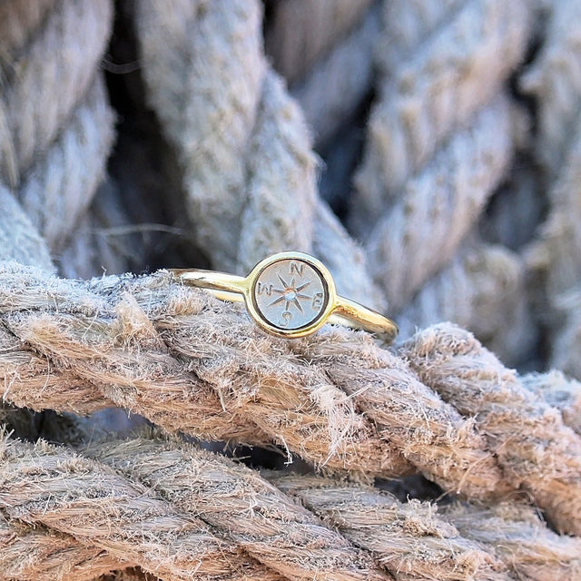 Compass Ring-Rings-finish:18kt Gold Plated-Size 6-Luca + Danni