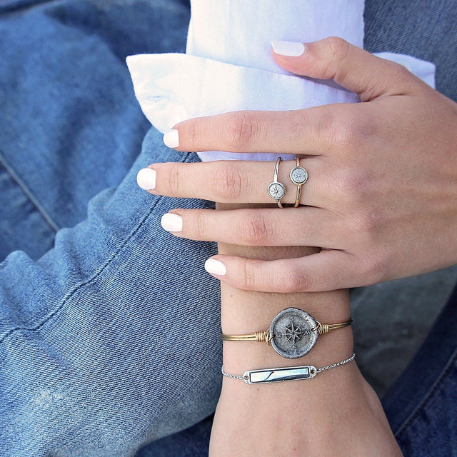 Compass Bangle Bracelet-Bangle Bracelet-finish:-Luca + Danni