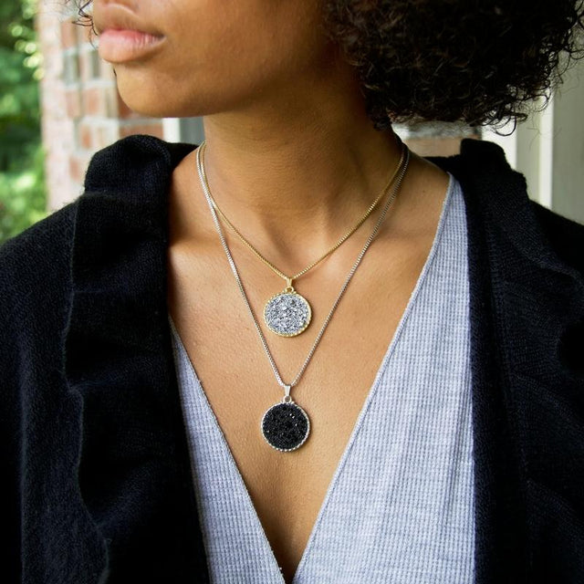 Kelsey Pave Necklace In Jet-necklace-finish:-Luca + Danni