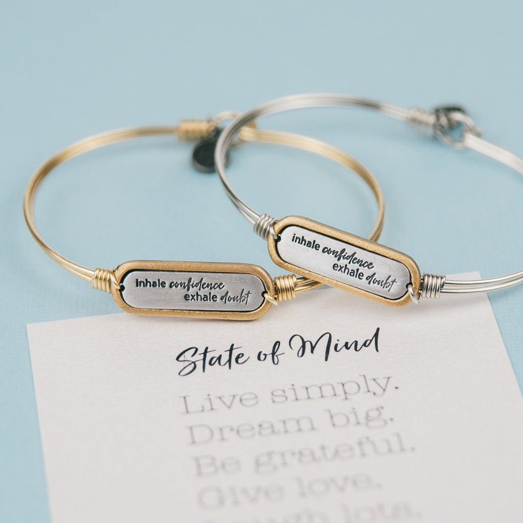 Inhale Confidence Bangle Bracelet-Bangle Bracelet-finish:-Luca + Danni