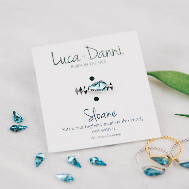 Sloane Ring in Aqua-Rings-finish:18kt Gold Plated-Size 6-Luca + Danni