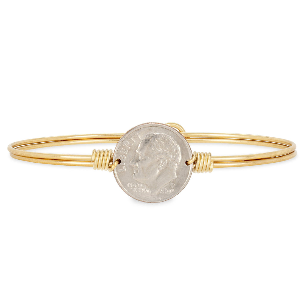 Divine Dime Bangle Bracelet choose finish:Brass Tone