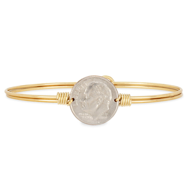 Divine Dime Bangle Bracelet Finish:Brass Tone