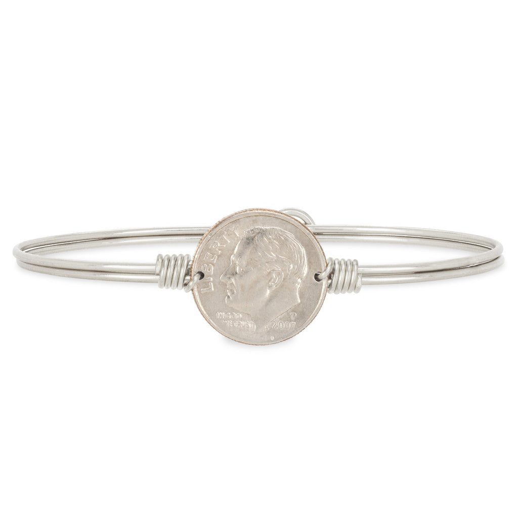 Divine Dime Bangle Bracelet choose finish:Silver Tone