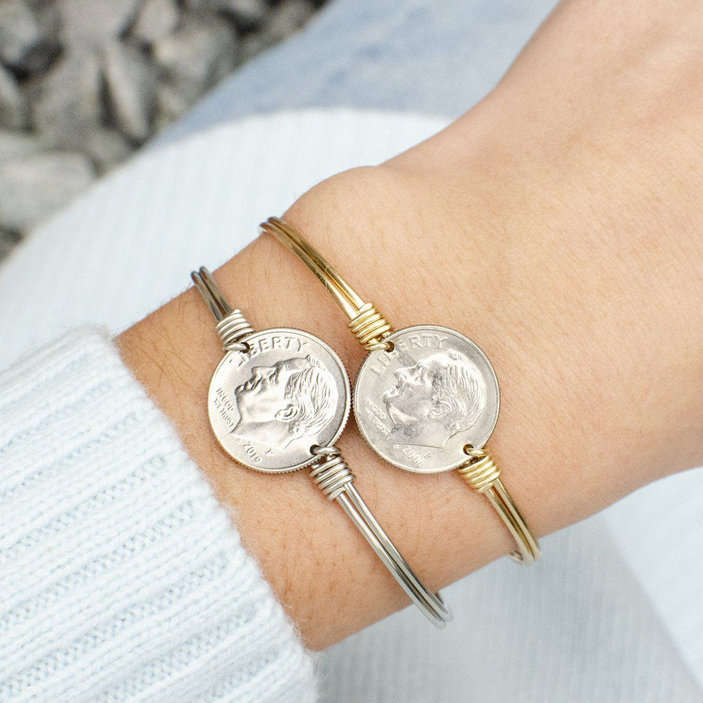 Divine Dime Bangle Bracelet choose finish: