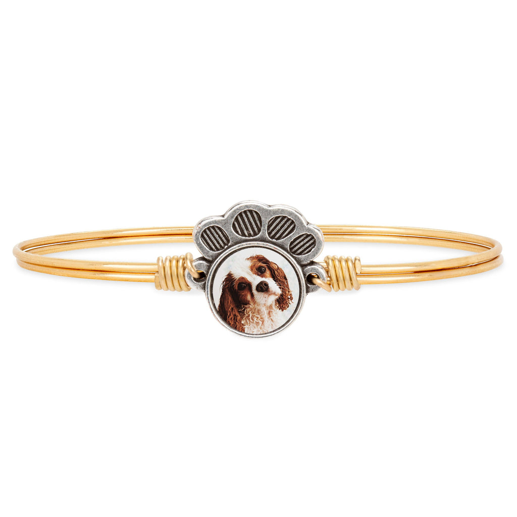 Personalized Pawprint Bangle Bracelet choose finish: