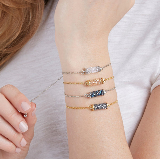 Druzy Tube Slider Bracelet in Moonlight