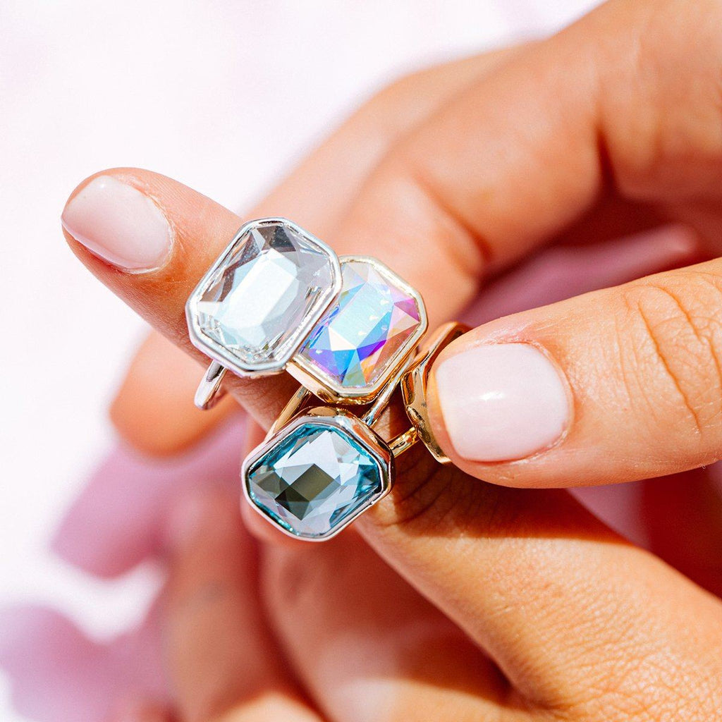 Aqua Crystal Dylan Cocktail Ring
