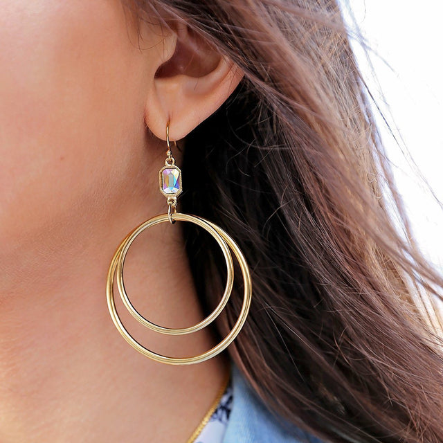 Dylan Hoop Earrings in Crystal AB