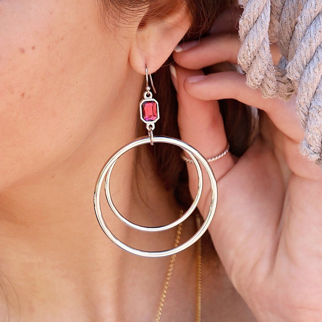 Dylan Hoop Earrings in Scarlet Red-Earrings-finish:18kt Gold Plated-Luca + Danni